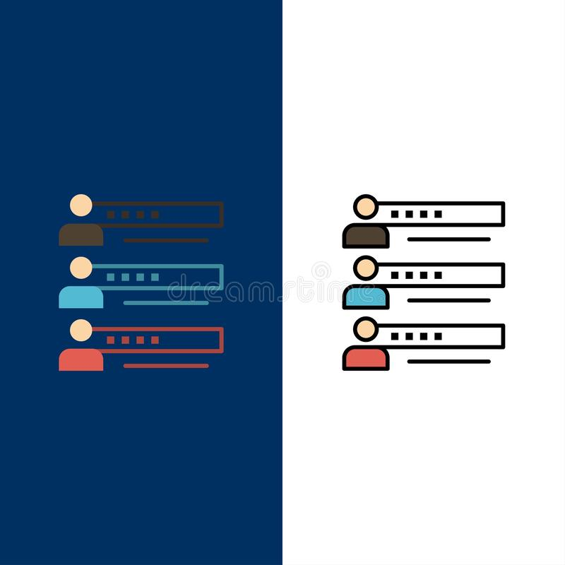 Habilidades, gráficos, gente, perfil, ajustes, estadísticas, Team Icons El plano y la línea icono llenado fijaron el fondo azul d libre illustration
