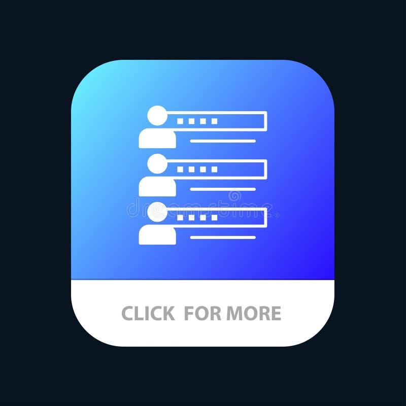 Habilidades, gráficos, gente, perfil, ajustes, estadísticas, Team Mobile App Button Android y versión del Glyph del IOS ilustración del vector