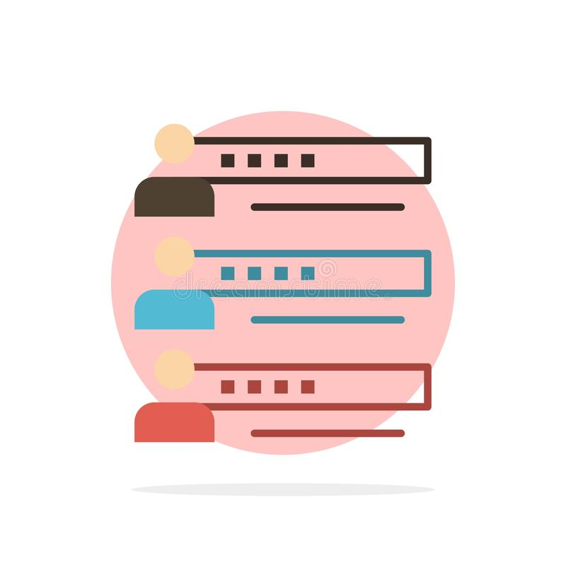 Habilidades, gráficos, povos, perfil, ajustes, estatísticas, ícone da cor de Team Abstract Circle Background Flat ilustração do vetor