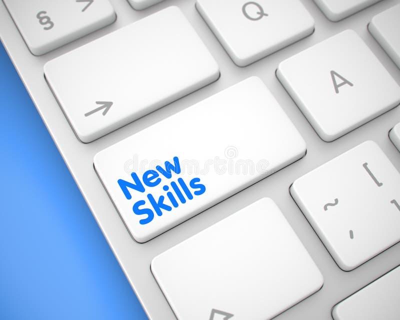 Habilidades novas - mensagem no teclado branco do teclado 3d ilustração do vetor