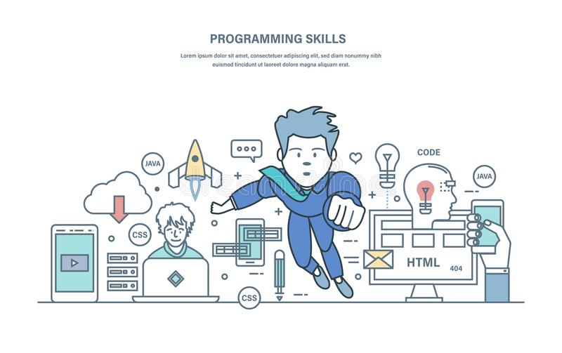Habilidades programadas Programando en idiomas de alto nivel y la codificación, usos que se convierten stock de ilustración