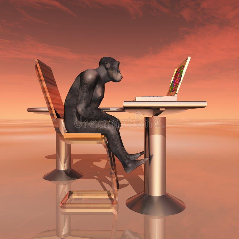 """Habilis de homo y evolución humana del †del ordenador portátil """" ilustración del vector"""