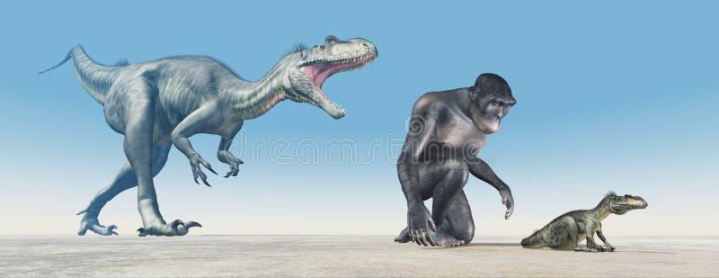 Habilis de homo y Megalosaurus del dinosaurio del bebé stock de ilustración