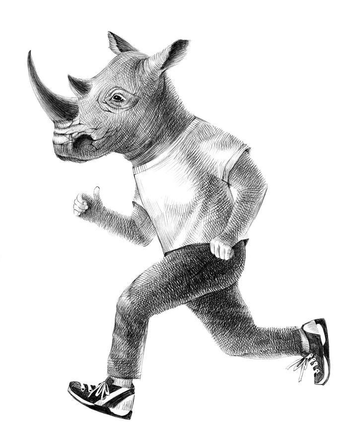 Habillé fonctionnement de rhinocéros illustration stock