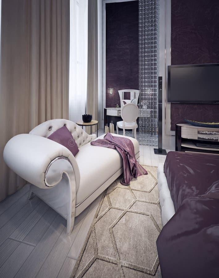 Habillage du secteur dans la chambre à coucher élégante images stock