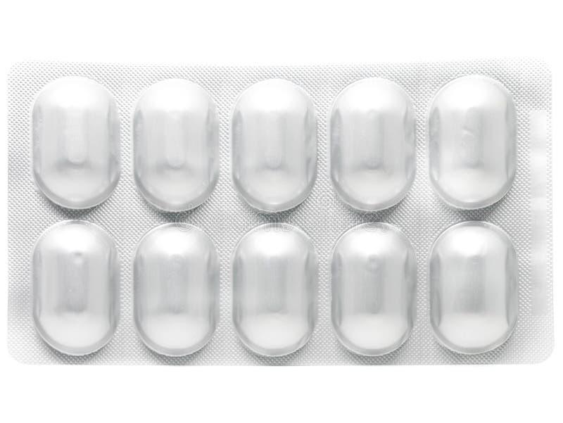 Habillage transparent en aluminium pour des capsules de pilules de drogue image stock