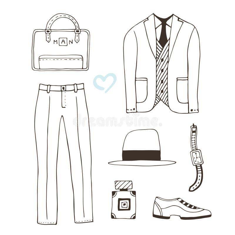 Habillement d'illustration de mode Les vêtements modernes des hommes Collection avec des accessoires de mode Usage de vecteur pou illustration de vecteur