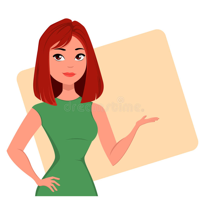 Habillement de port de style d'affaires de jeune femme d'affaires de bande dessinée Dame moderne rousse à la mode illustration de vecteur