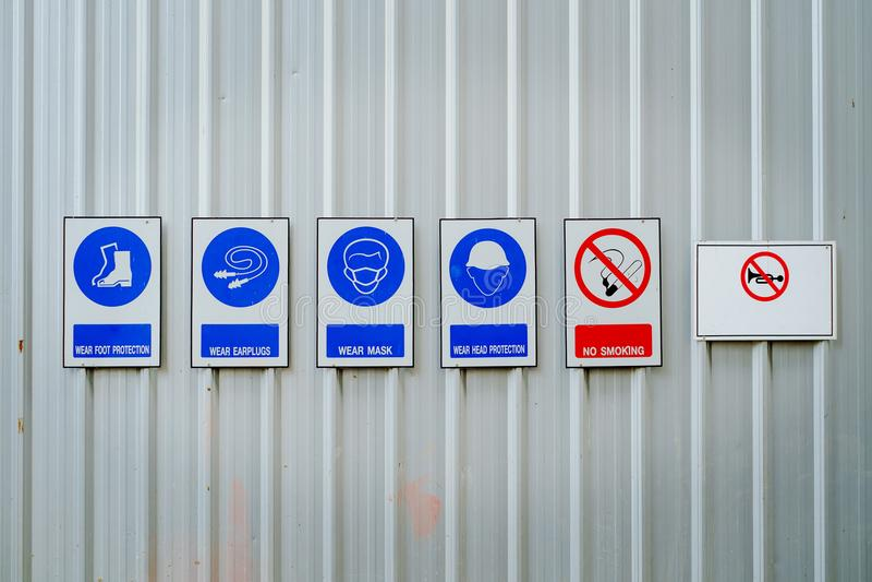 Habillement de sécurité ou équipement de protection personnel et interdiction image libre de droits