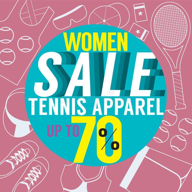 Habillement de tennis de vente de femmes illustration stock
