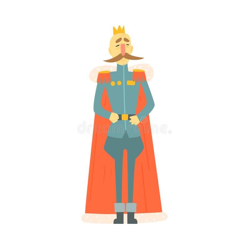 Habillement et cap officiels du Roi Emperor In Military avec le caractère puéril de bande dessinée debout de conte de fées de mou illustration stock