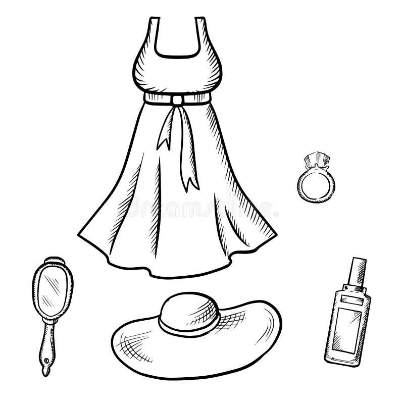 Habillez, croquis de chapeau du soleil, d'anneau, de miroir et de parfum illustration libre de droits
