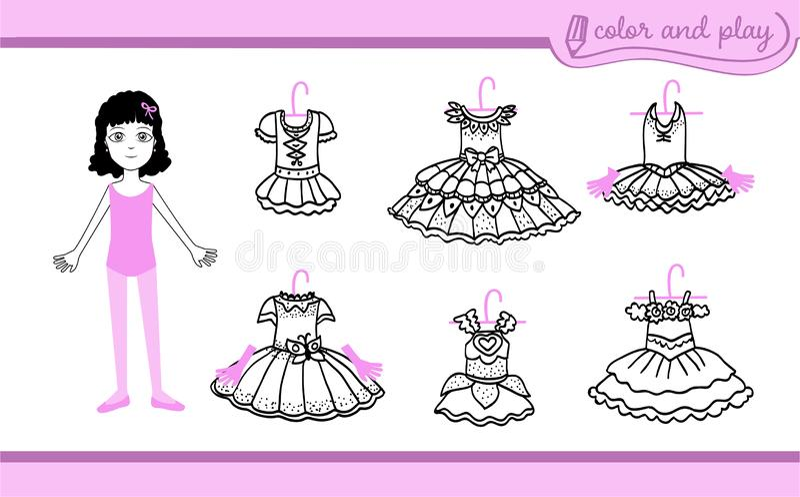 Habillez la poupée de papier avec des tutus de ballet illustration libre de droits
