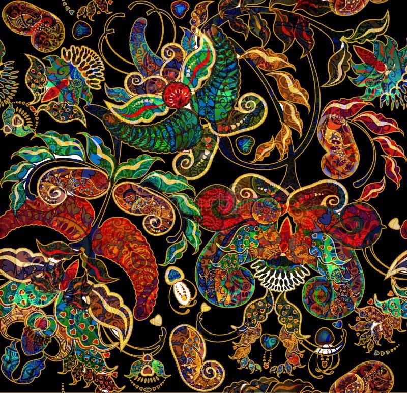 Habit bariolé oriental exotique minable floral de modèle illustration stock