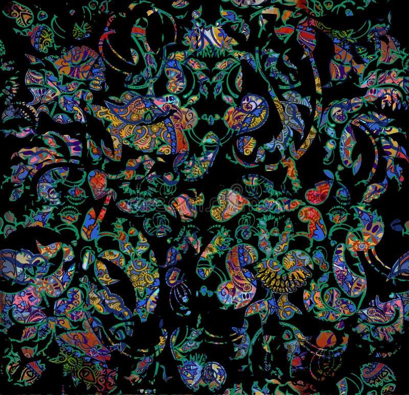 Habit bariolé oriental minable floral de modèle illustration de vecteur