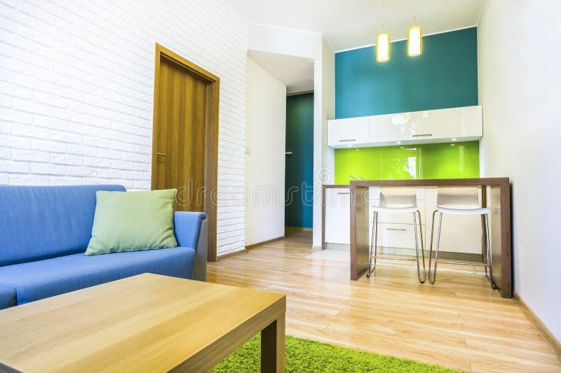 Habitación con el sofá y el cocinilla foto de archivo