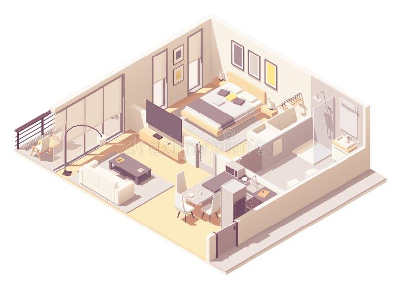 Habitación de hotel de apartamento del vector stock de ilustración