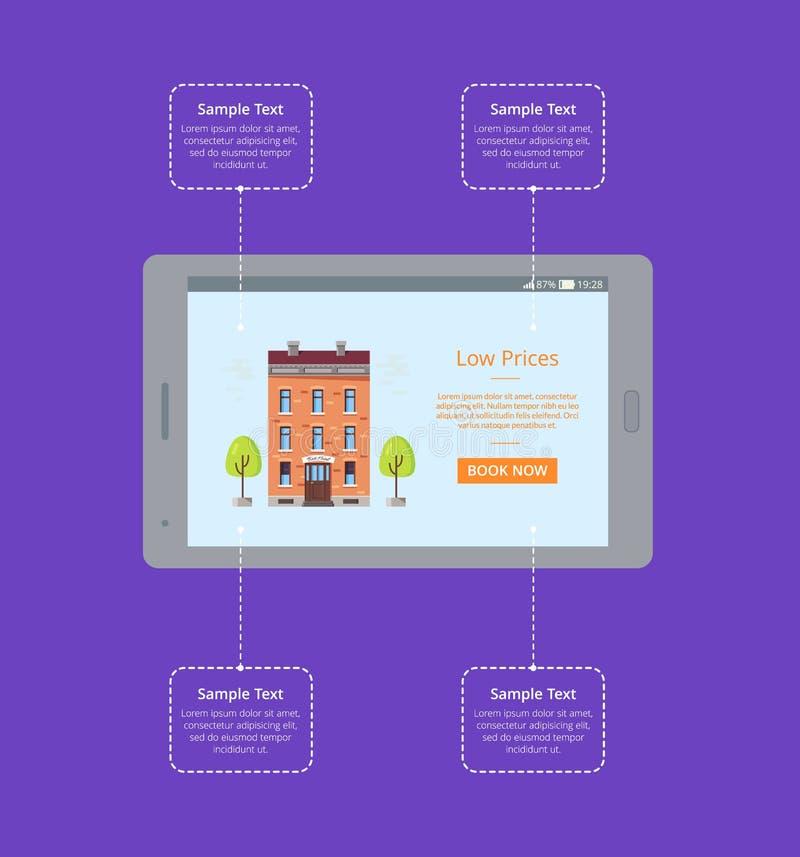 Habitación de la reservación vía el cartel del vector de Internet libre illustration