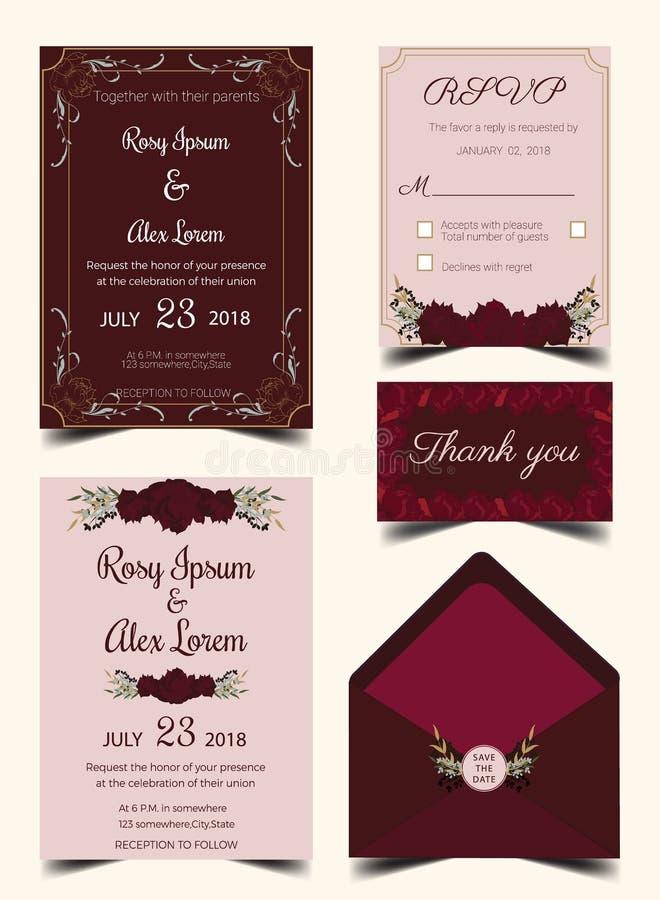 Habitación de la tarjeta de la invitación de la boda con las plantillas de la flor libre illustration