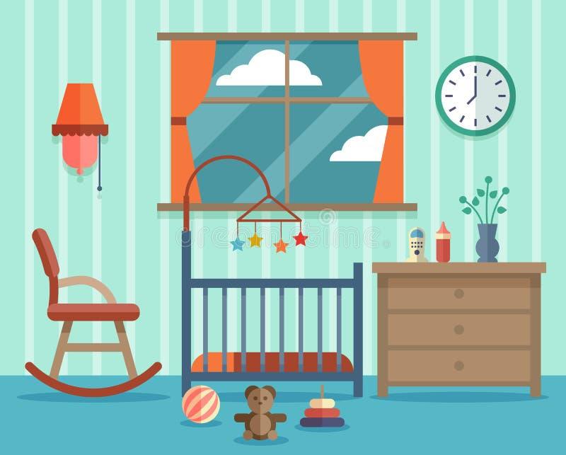 Habitación Del Niño Para El Bebé Recién Nacido Vector Plano ...