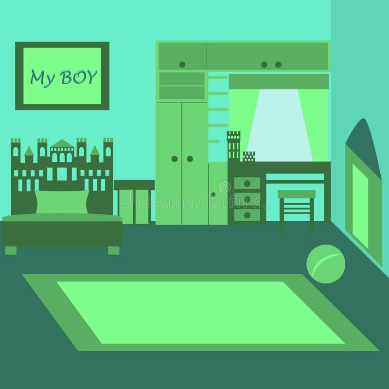 Habitación del niño para el niño del colegial Dormitorio del bebé con muebles Interior del cuarto de niños stock de ilustración