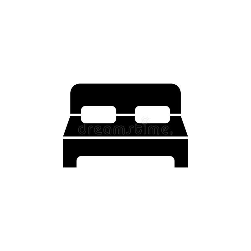 Habitación doble, icono plano del vector de la cama grande libre illustration