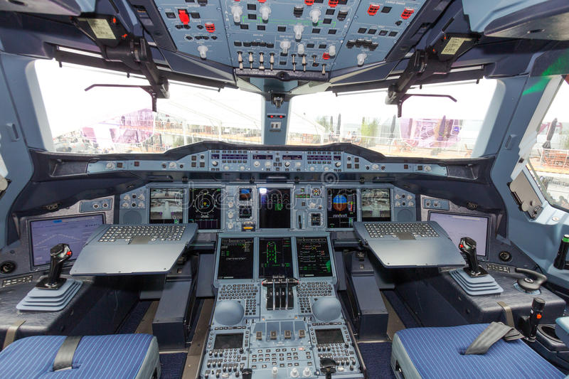 Habitacle d'Airbus A380 photo stock