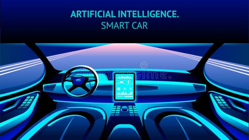 Habitacle de voiture d'intelligence artificielle Drapeau de vecteur illustration libre de droits