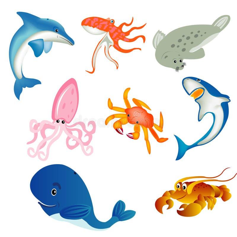 Habitantes do mar ilustração do vetor