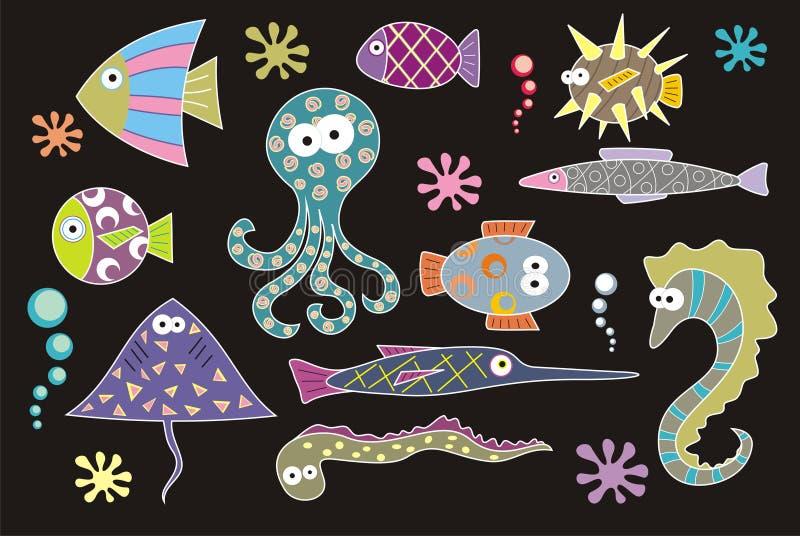 Habitants de mer illustration stock