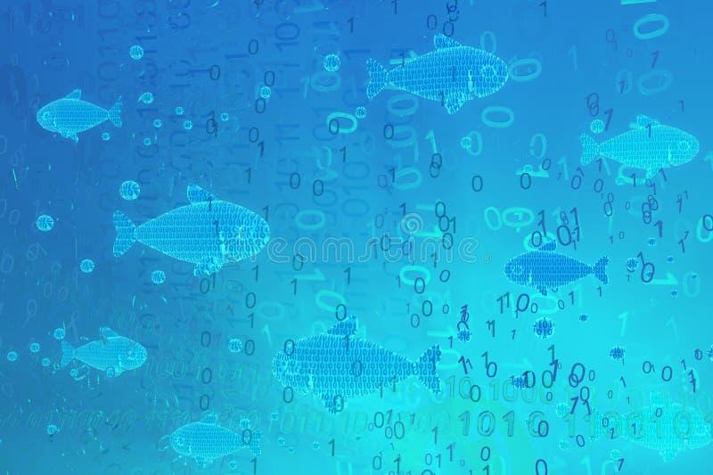 Habitat virtual dos peixes ilustração royalty free