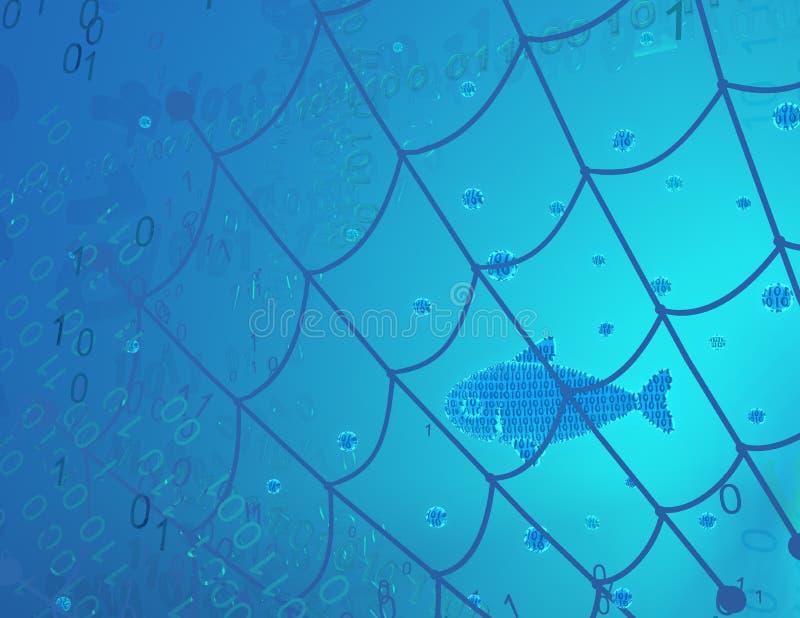 Habitat virtuel de poissons, filet de p?che illustration stock