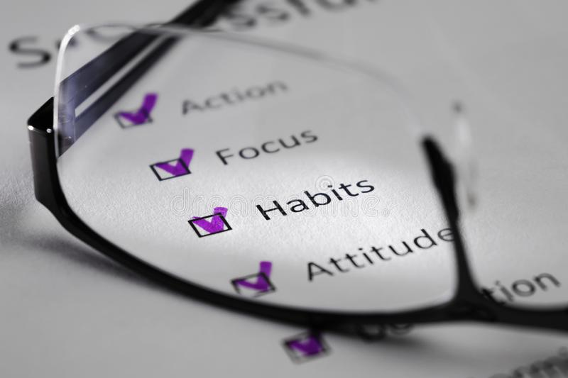 HABITS inscription on a white sheet. This is a motivational checklist with points for success. Opposite the lines there are check. Marks in black squares. The royalty free stock image