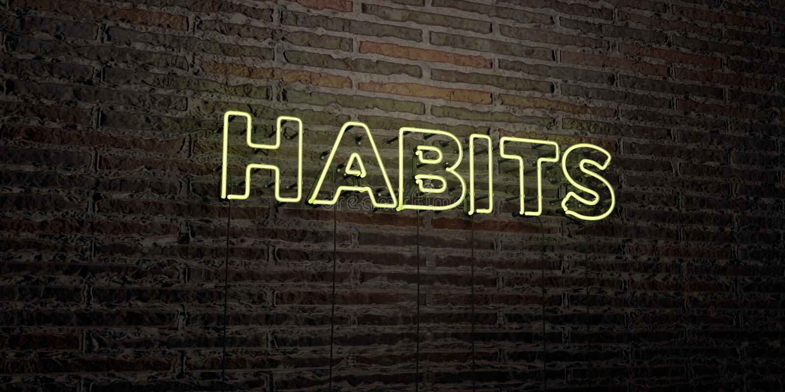 HABITS -Realistic Neon Sign on Brick Wall background - 3D rendered royalty free stock image stock illustration