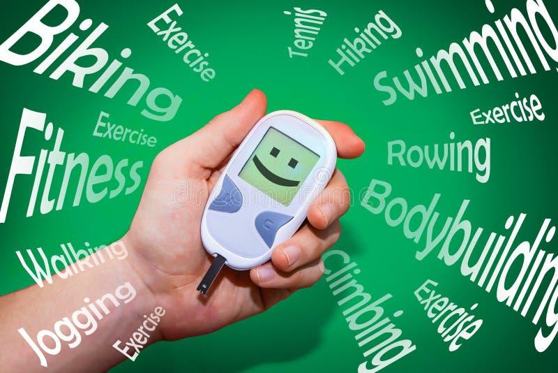 Habitudes positives de santé qui combattent le diabète images libres de droits