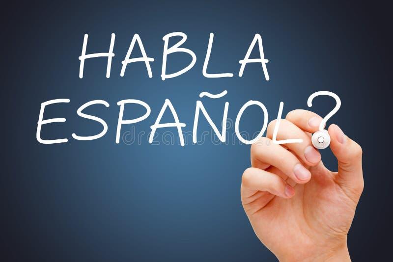 Habla Espanol manuscrit avec le marqueur blanc image libre de droits