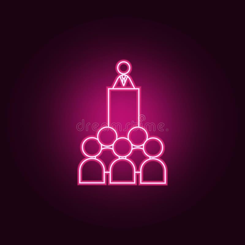 hable al icono de neón de los colegas Elementos del sistema del trabajo del equipo Icono simple para las p?ginas web, dise?o web, stock de ilustración