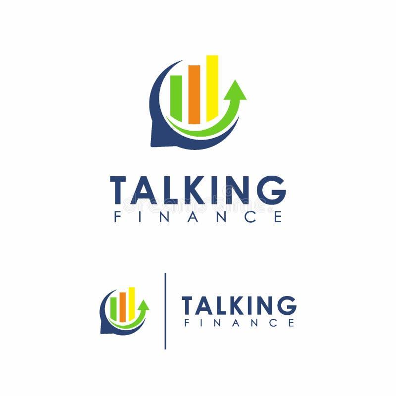 Hable el concepto de diseño del logotipo de las finanzas, plantilla del logotipo del negocio ilustración del vector