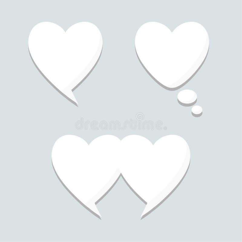 Hable el sistema de la burbuja del pensamiento, diseño del corazón, elementos stock de ilustración