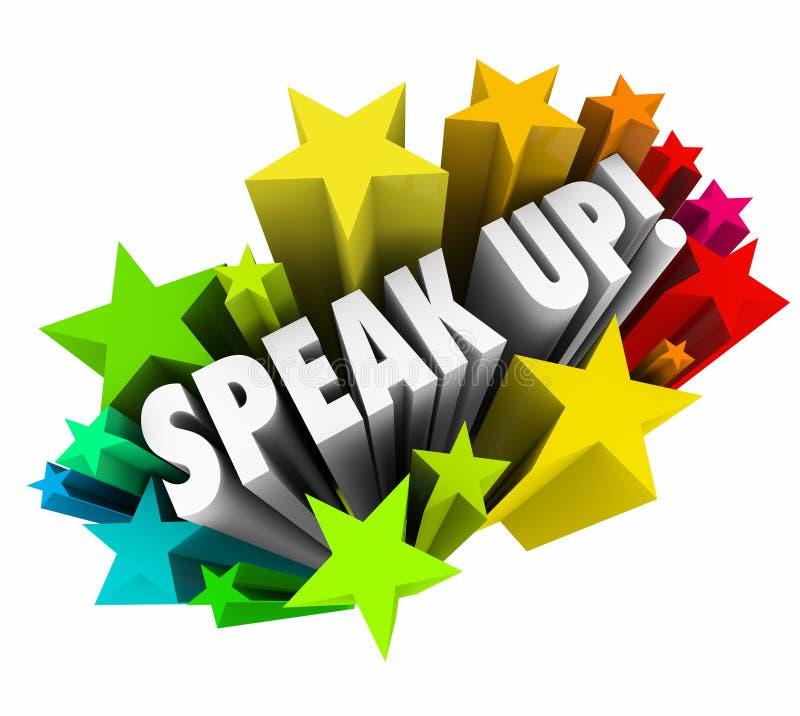 Hable encima de las estrellas de las palabras de la injusticia 3d de la protesta de la reunión stock de ilustración