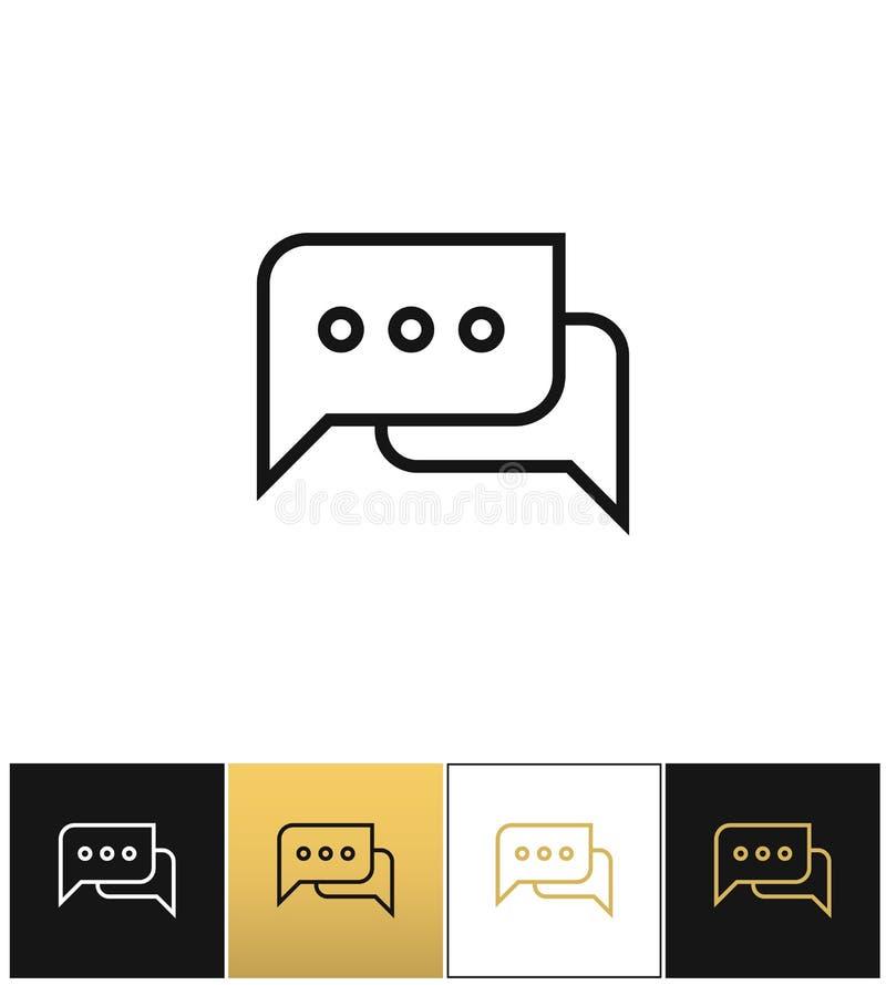Hable la conversación, el comentario o el icono de pensamiento del vector de las burbujas ilustración del vector
