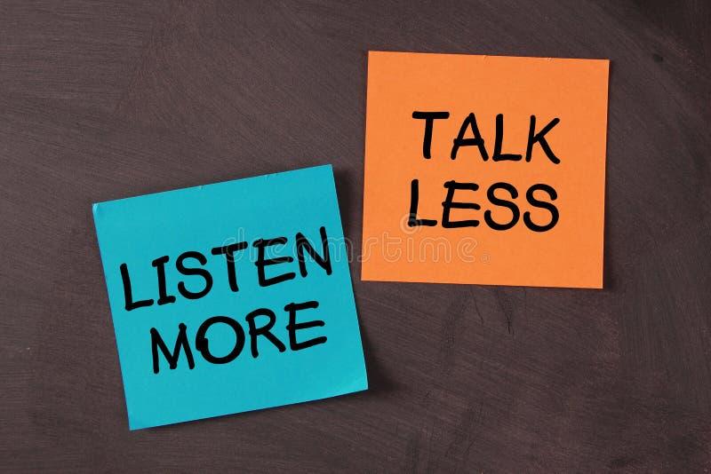 Hable menos y escuche más imagen de archivo