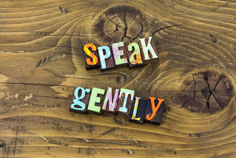 Hable suavemente la impresión suave de la tipografía de la verdad de la sabiduría del silencio de la mente stock de ilustración