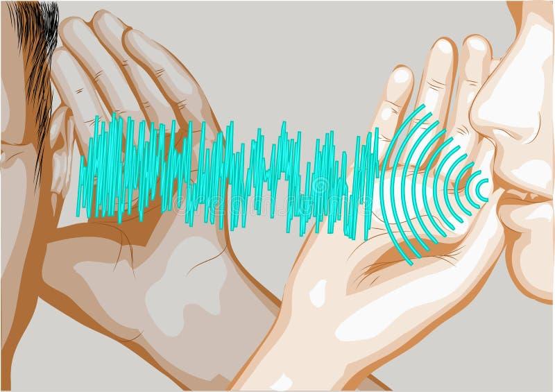 Hable y escuche stock de ilustración