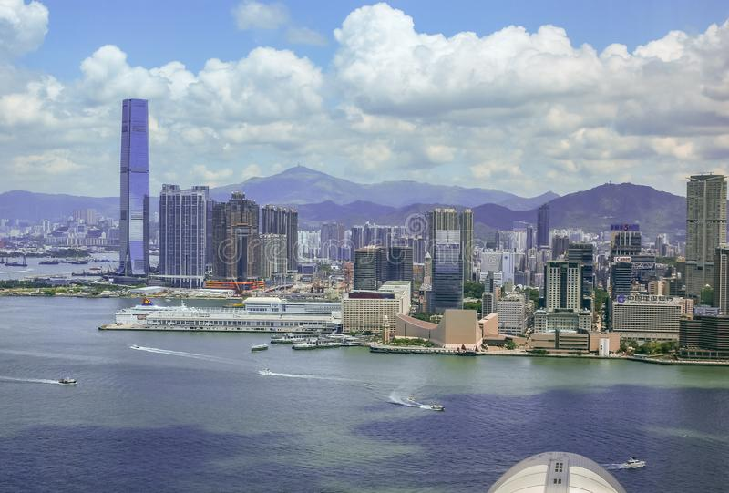 Habor et horizons de ville en Hong Kong photo libre de droits