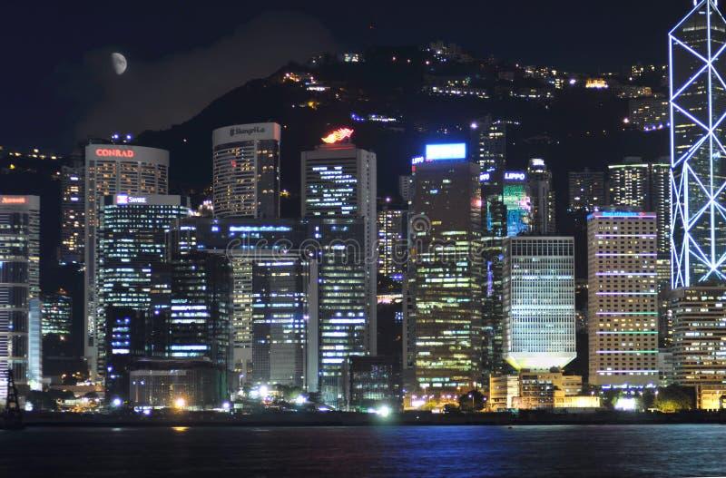 Habor van Hongkong bij nacht royalty-vrije stock afbeeldingen