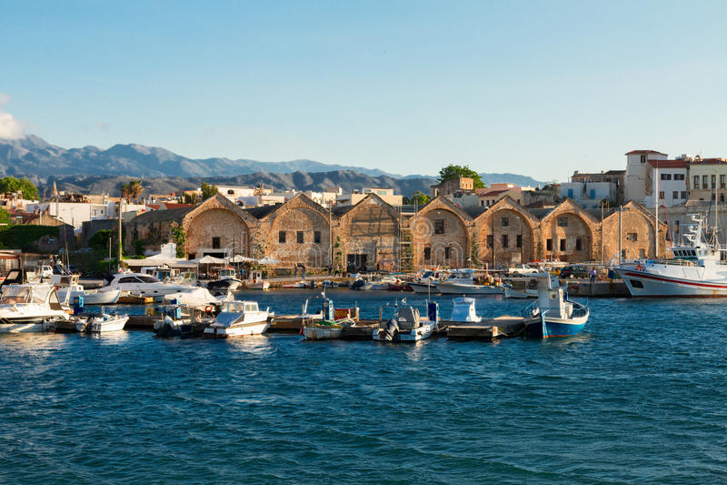 Habour van Chania, Kreta, Griekenland royalty-vrije stock foto