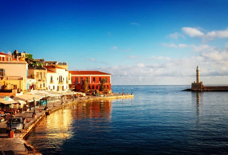 Habour veneziano di Chania, Creta, Grecia fotografia stock libera da diritti