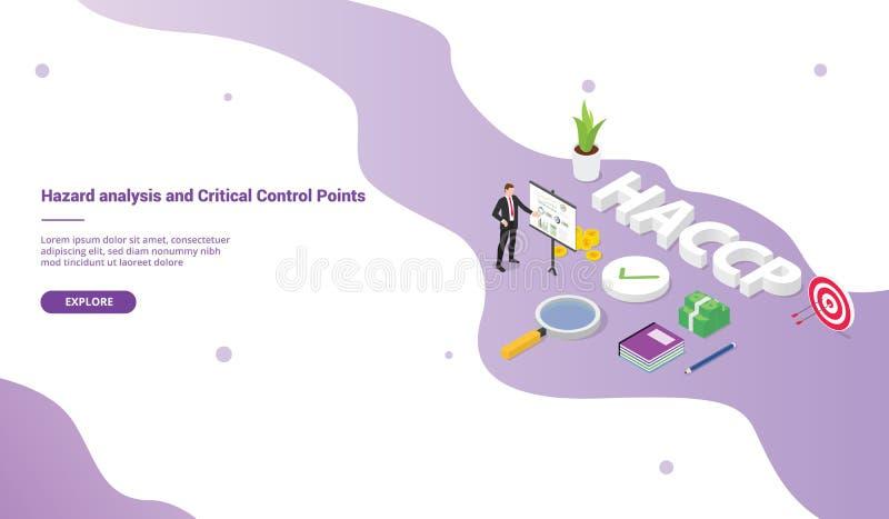 Haccp危险分析和重要控制点企业概念网站模板或登陆的主页的与等量现代 库存例证
