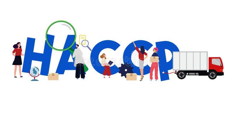 HACCP-Gefahrenanalyse-kritisches Abfertigungsschalter Management der Illustrationsteam-Arbeit zusammen vektor abbildung